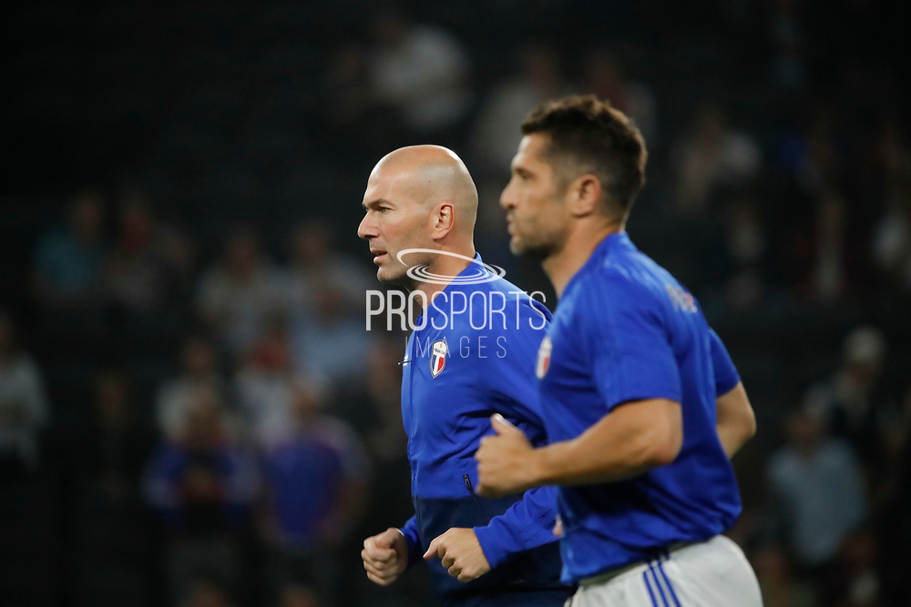 Zinedine Zidane (France 98) and Bixente Lizarazu (France 98) at warm up during the 2018 Friendly Game football match between France 98 and FIFA 98 on June 12, 2018 at U Arena in Nanterre near Paris, France - Photo Stephane Allaman / ProSportsImages / DPPI