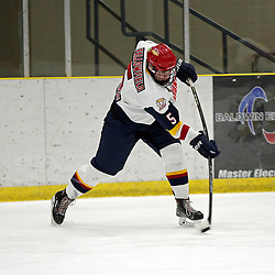 WELLINGTON, ON - FEBRUARY 10: Tim Fallowfield #5 of the Wellington Dukes participates in the pre-game warmup on February 10, 2019 at Wellington and District Community Centre in Wellington, Ontario, Canada.<br /> (Photo by Ed McPherson / OJHL Images)