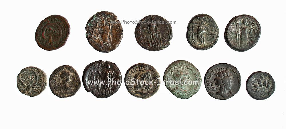 12 bronze Roman city coins