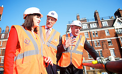 Labour visit Cross Rail site. <br /> (L-R) Rachel Reeves MP, Sir John Armitt,  and Rt Hon Ed Balls MP during the Armitt infrastructure planning review launch, London, United Kingdom. Thursday, 5th September 2013. Picture by Elliot Franks / i-Images