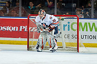 KELOWNA, BC - MARCH 09:  Dylan Garand #30 of the Kamloops Blazers stands in net against the Kelowna Rockets at Prospera Place on March 9, 2019 in Kelowna, Canada. (Photo by Marissa Baecker/Getty Images)