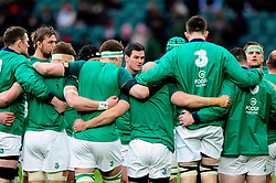 Jonathan Sexton of Ireland looks on in a huddle - Mandatory byline: Patrick Khachfe/JMP - 07966 386802 - 27/02/2016 - RUGBY UNION - Twickenham Stadium - London, England - England v Ireland - RBS Six Nations.