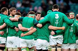 Jonathan Sexton of Ireland looks on in a huddle - Mandatory byline: Patrick Khachfe/JMP - 07966 386802 - 27/02/2016 - RUGBY UNION - Twickenham Stadium - London, England - England v Ireland - RBS Six Nations.
