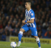 Brighton central midfielder Beram Kayal looks to launch an attack during the Sky Bet Championship match between Brighton and Hove Albion and Rotherham United at the American Express Community Stadium, Brighton and Hove, England on 15 September 2015. Photo by Bennett Dean.