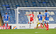 Billy Kee heads wide during the Sky Bet League 2 match between Portsmouth and Accrington Stanley at Fratton Park, Portsmouth, England on 5 September 2015. Photo by Adam Rivers.