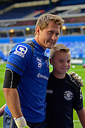 Tomasz Kuszczak has a picture with a fan during the Sky Bet Championship match between Birmingham City and Derby County at St Andrews, Birmingham, England on 21 August 2015. Photo by Alan Franklin.