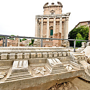Roman ruins on the Foro Romano in Rome, Italy.