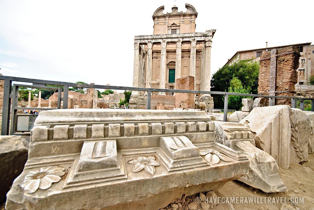 Roman ruins on the Foro Romano in Rome, Italy.