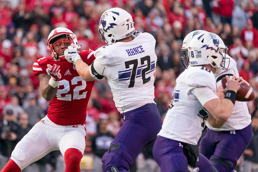 during Nebraska's game against Northwestern at Memorial Stadium in Lincoln, Nebraska on Nov. 4, 2017. Photo by Aaron Babcock, Hail Varsity