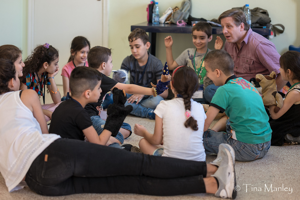 Middle East Council of Churches conducts a trauma recovery program for refugee children at the Our Lady Dispensary in Beirut, Lebanon.