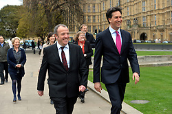Newly Elected MP for Wythenshawe and Sale East Mike Kane MP (left) and Labour leader Ed Miliband (right) outside of The House of Commons on College Green, London, UK.<br /> Monday, 24th February 2014. Picture by Ben Stevens / i-Images
