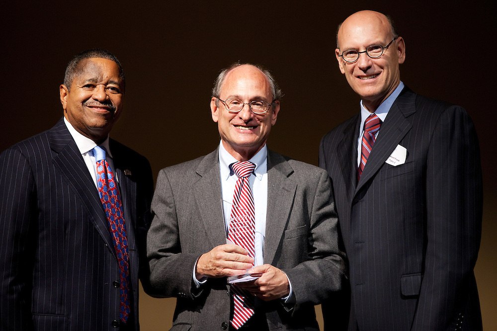 President McDavis, Marc Kantrowitz, and Bob Frank pose for a portrait at the College of Arts and Sciences Distinguished Alumni Awards Dinner and Ceremony on October 4, 2012..Photo by Chris Franz