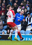Ronan Curtis (11) of Portsmouth battles for possession with Aapo Halme (24) of Barnsley during the The FA Cup match between Portsmouth and Barnsley at Fratton Park, Portsmouth, England on 25 January 2020.