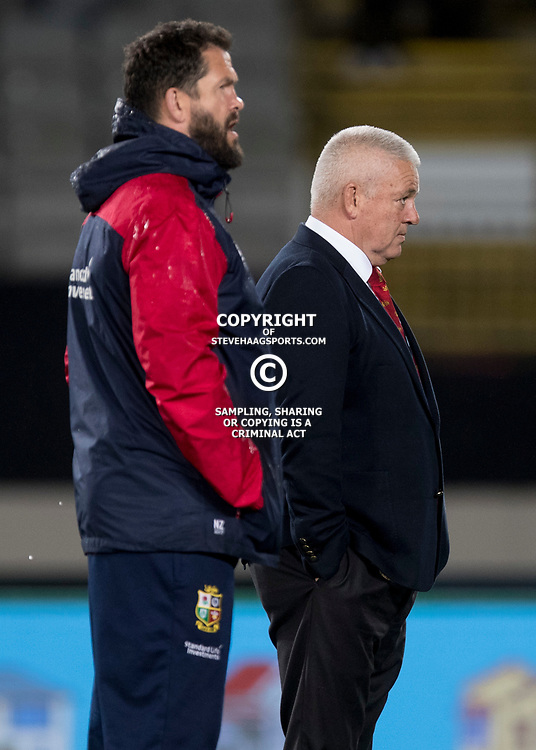 Warren Gatland and Andy Farrell, Eden Park, Auckland game 2 of the British and Irish Lions 2017 Tour of New Zealand,The match between the Auckland Blues and British and Irish Lions, Wednesday 7th June 2017   <br /> <br /> (Photo by Kevin Booth Steve Haag Sports)<br /> <br /> Images for social media must have consent from Steve Haag