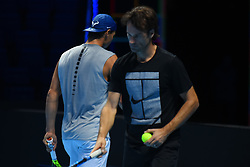 November 10, 2017 - London, England, United Kingdom - Rafael Nadal of Spain (L) and Carlos Moya speak during a training session prior to the Nitto ATP World Tour Finals at O2 Arena, London on November 10, 2017. (Credit Image: © Alberto Pezzali/NurPhoto via ZUMA Press)
