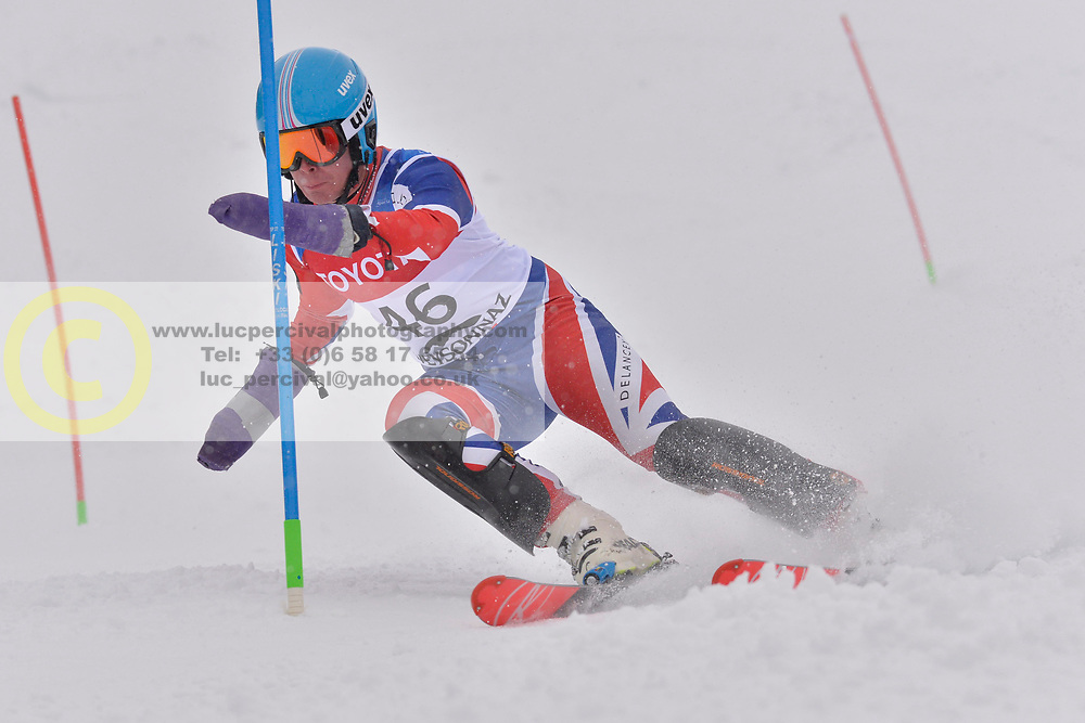 WHITLEY James LW5/7-3 GBR at 2018 World Para Alpine Skiing World Cup slalom, Veysonnaz, Switzerland