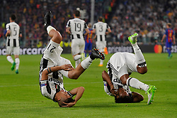 April 11, 2017 - Turin, Italy - Juventus players PAULO DYBALA and JUAN CUADRADO celebrate scoring their first goal against Barcelona during UEFA Champions League Quarter Final action at Juventus Stadium. (Credit Image: © Giorgio Perottino/Action Images via ZUMA Press)
