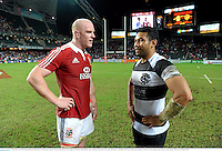 1 June 2013; Paul O'Connell, British & Irish Lions, in conversation with his Munster team-mate Casey Laulala, Barbarians, following the match. British & Irish Lions Tour 2013, Barbarians v British & Irish Lions, Hong Kong Stadium, So Kon Poh, Hong Kong, China. Picture credit: Stephen McCarthy / SPORTSFILE