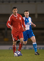 BRISTOL, ENGLAND - Thursday, January 15, 2009: Liverpool's Nathan Eccleston in action against Bristol Rovers during the FA Youth Cup match at the Memorial Stadium. (Mandatory credit: David Rawcliffe/Propaganda)