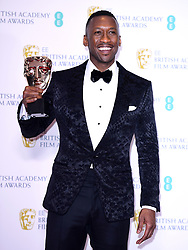 Mahershala Ali with his Best Actor in a Supporting Role Bafta for Green Book in the press room at the 72nd British Academy Film Awards held at the Royal Albert Hall, Kensington Gore, Kensington, London.
