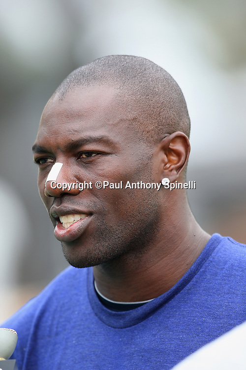 OXNARD, CA - AUGUST 01:  Wide receiver Terrell Owens #81 of the Dallas Cowboys smiles as he talks to the media after practice during the 2008 Dallas Cowboys Training Camp at River Ridge Field in Oxnard, California on August 1, 2008. ©Paul Anthony Spinelli *** Local Caption *** Terrell Owens