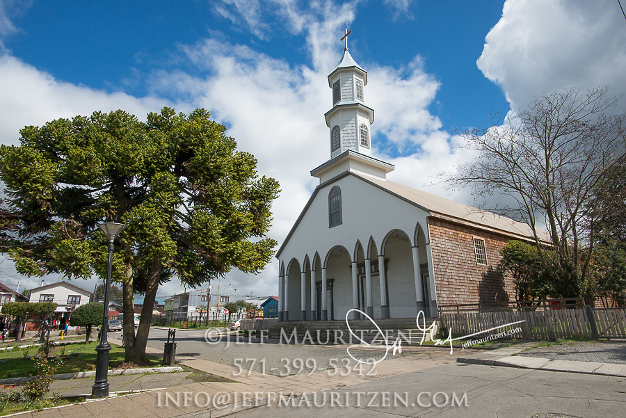 One of 16 wooden churches which collectively are designated as a UNESCO world heritage site in Dalcahue, Chile.