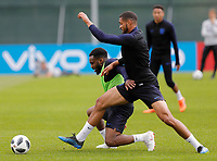 SAINT PETERSBURG, RUSSIA - JUNE 13: Danny Rose (L) of England national team and Ruben Loftus-Cheek of England national team during an England national team training session ahead of the FIFA World Cup 2018 in Russia at Stadium Spartak Zelenogorsk on June 13, 2018 in Saint Petersburg, Russia.