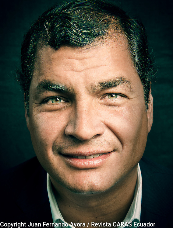 President of Ecuador Rafael Correa, photographed in Quito by Juan Fernando Ayora for Revista CARAS Ecuador.