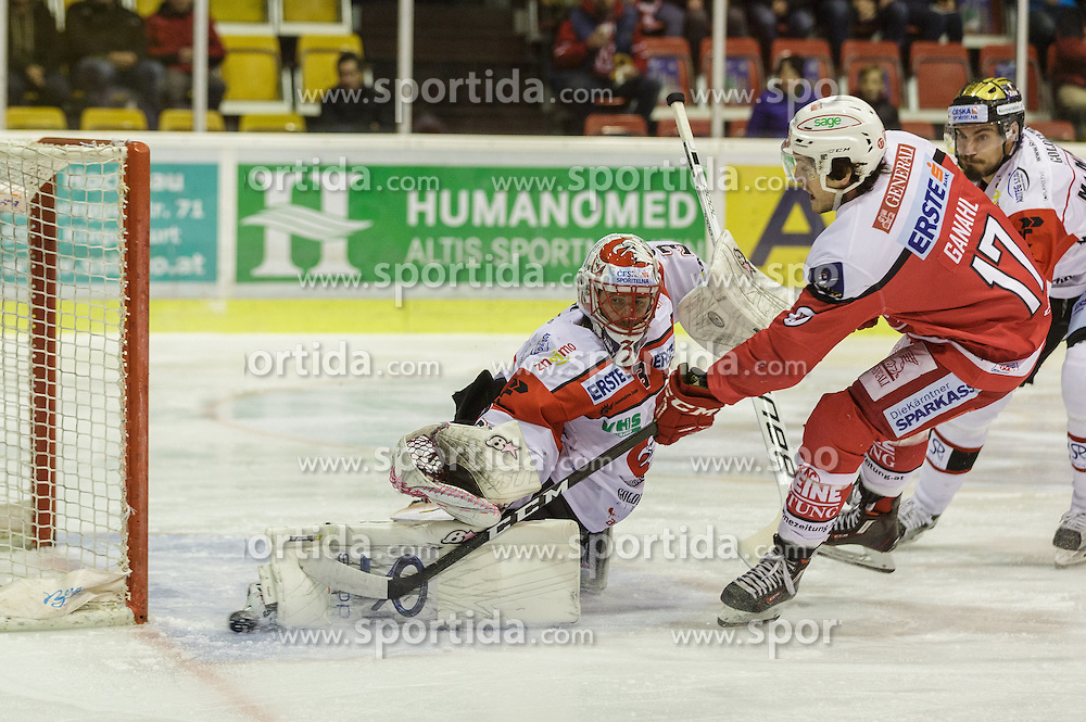 02.12.2016, Stadthalle, Klagenfurt, AUT, EBEL, EC KAC vs HC Orli Znojmo, 25. Runde Grunddurchgang, im Bild Marek Schwaz (HC Orli Znojmo, #3), Manuel Ganahl (EC KAC, #17)// during the Erste Bank Eishockey League 25th match at preliminary round betweeen EC KAC vs HC Orli Znojmo at the City Hall in Klagenfurt, Austria on 2016/12/02. EXPA Pictures © 2016, PhotoCredit: EXPA/ Gert Steinthaler