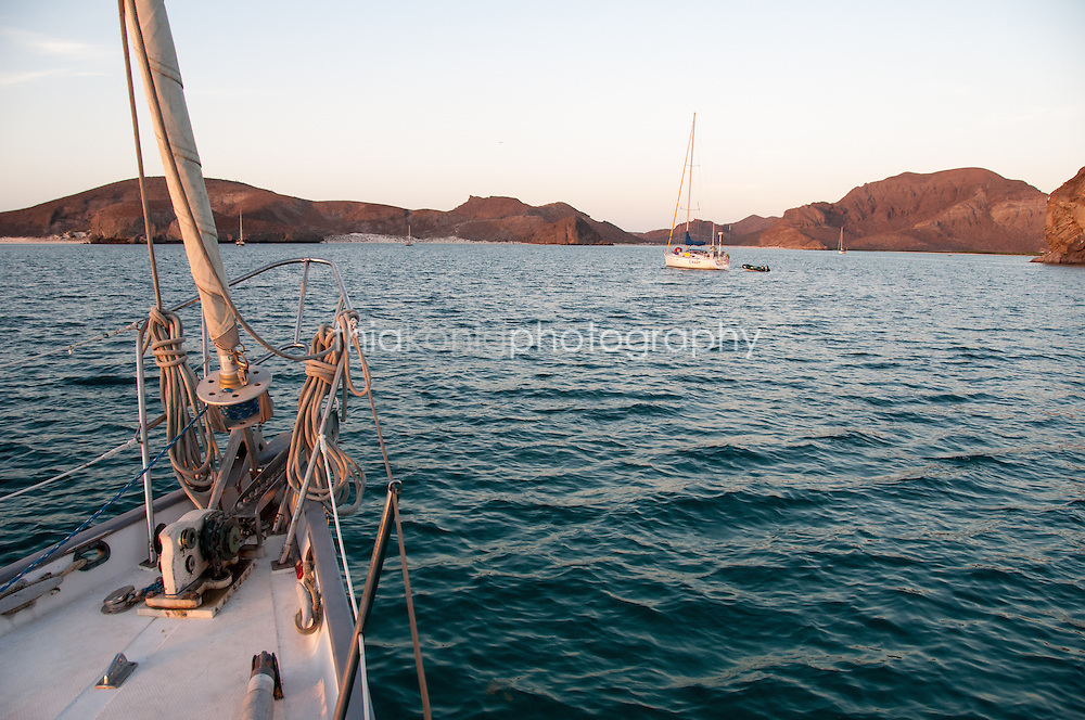 View of Sea of Cortez islands from a sailboat, Mexico
