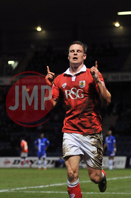 Bristol City's Matt Smith celebrates his goal. - Photo mandatory by-line: Dougie Allward/JMP - Mobile: 07966 386802 - 06/01/2015 - SPORT - football - Gillingham - Priestfield Stadium - Gillingham v Bristol City - Johnstone Paint Trophy - Area final