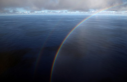 INDIAN OCEAN 26MAR13 - Sunny weather and a rainbow in the Indian Ocean.<br /> <br />  The Greenpeace ship Esperanza is on patrol in the Indian ocean documenting illegal fishing vessels.<br />