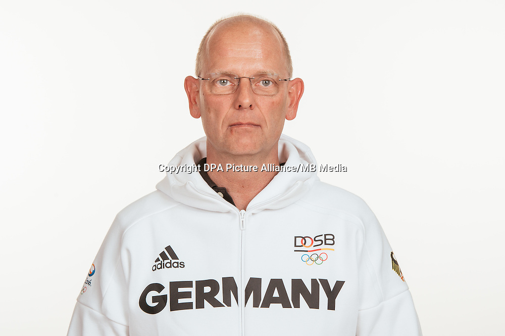 Klaus Roeser poses at a photocall during the preparations for the Olympic Games in Rio at the Emmich Cambrai Barracks in Hanover, Germany, taken on 18/07/16 | usage worldwide
