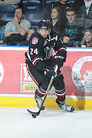 KELOWNA, CANADA - FEBRUARY 18: Matt Dumba #24 of the Red Deer Rebels skates with the puck as the Red Deer Rebels visit the Kelowna Rockets on February 18, 2012 at Prospera Place in Kelowna, British Columbia, Canada (Photo by Marissa Baecker/Shoot the Breeze) *** Local Caption ***