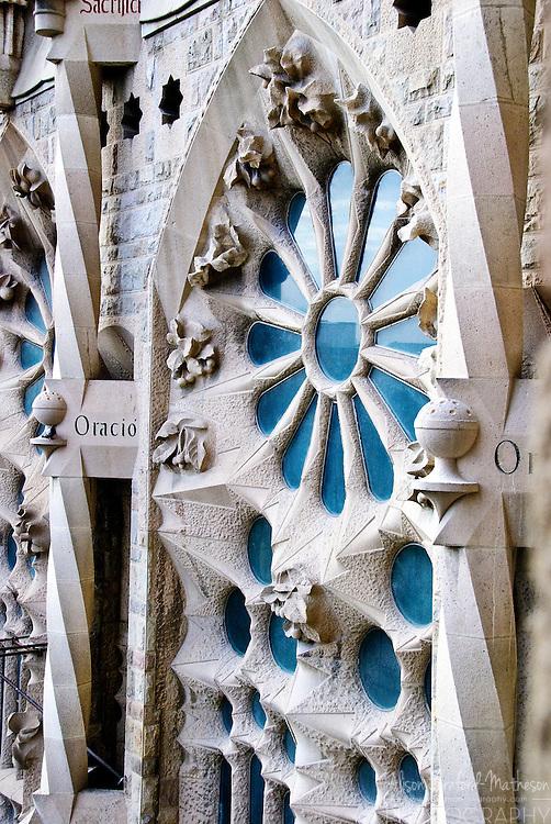 The Sagrada Família is Antoni Gaudí's Roman Catholic masterpiece of a church in Barcelona, Spain. Construction is still on-going.
