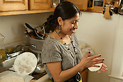 Perfecta Villegas making corn tortillas. Daniel Kaufman, Director of the Endangered Langage Alliance, met with three native speakers over a traditional lunch they prepared.