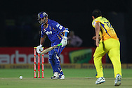 Rajasthan Royals captain Rahul Dravid mis-times a delivery from Mohit Sharma of Chennai Super Kings  during the first semi-final match of the Karbonn Smart Champions League T20 (CLT20) 2013  between The Rajasthan Royals and the Chennai Superkings held at the Sawai Mansingh Stadium in Jaipur on the 4th October 2013<br /> <br /> Photo by Ron Gaunt-CLT20-SPORTZPICS<br /> <br /> Use of this image is subject to the terms and conditions as outlined by the CLT20. These terms can be found by following this link:<br /> <br /> http://sportzpics.photoshelter.com/image/I0000NmDchxxGVv4