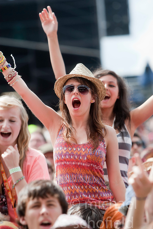 Fans as All Time Low play the Main Stage, T in the Park on Sunday 10th July 2011. T in the Park 2011 music festival takes place from 7-10th July 2011 in Balado, Fife, Scotland..©Pic : Michael Schofield.