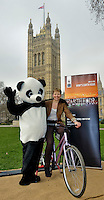 """MP's joined WWF's """"Charging up for earth hour"""" event in the Victoria tower Gardens next to the Palace of Westminster. MPs from across the UK showed their support for WWF Earth Hour by pedalling bikes to power up batteries which will be used to project natural world images onto the Royal Albert Hall during Earth Hour."""