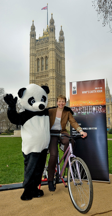 "MP's joined WWF's ""Charging up for earth hour"" event in the Victoria tower Gardens next to the Palace of Westminster. MPs from across the UK showed their support for WWF Earth Hour by pedalling bikes to power up batteries which will be used to project natural world images onto the Royal Albert Hall during Earth Hour."