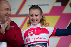 Emma White (USA) of Team USA celebrates wearing the best young rider's jersey afer the prologue of the Lotto Thuringen Ladies Tour - a 6.1 km individual time trial, starting and finishing in Gera on July 12, 2017, in Thuringen, Germany. (Photo by Balint Hamvas/Velofocus.com)
