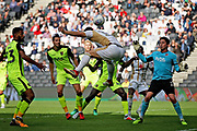 MKDons defender Jordan Moore-Taylor (15) couldn't convert this effort late on during the EFL Sky Bet League 2 match between Milton Keynes Dons and Exeter City at stadium:mk, Milton Keynes, England on 25 August 2018.