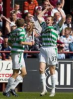 Hearts v Celtic, Scottish Premier League, Tynecastle Park, Edinburgh. Pic Shaun Dempsey, 15/05/2005<br /> Craig Beattir scores and celebrates after winning goal for ~Celtic.