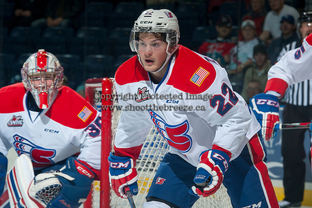 KELOWNA, CANADA - NOVEMBER 7: Dominic Zwerger #22 of Spokane Chiefs skates against the Kelowna Rockets on November 7, 2014 at Prospera Place in Kelowna, British Columbia, Canada.  (Photo by Marissa Baecker/Shoot the Breeze)  *** Local Caption *** Dominic Zwerger;