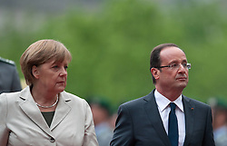 Bildnummer: 57991871..Chancellor Angela Merkel and Franois Grard Georges Nicolas Hollande Visit and Reception with military Honor the French Presidents in Federal Chancellery in Berlin Germany, Tuesday May 15, 2012.Sven Simon/imago/ i-Images
