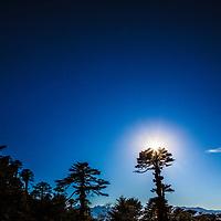 A beautiful sunset sun Bhutan