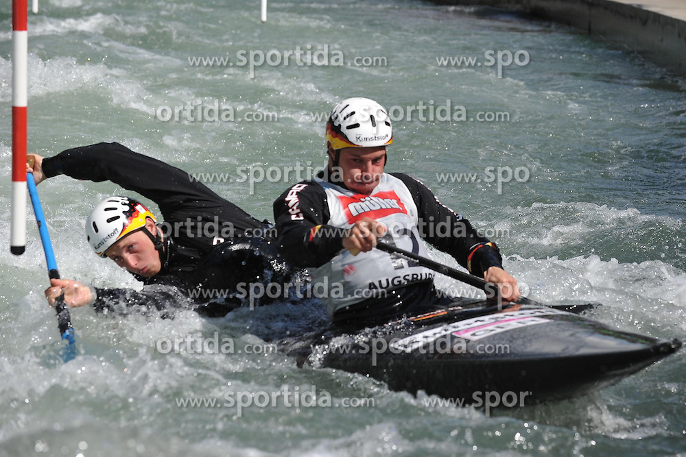 13.05.2012, Eiskanal, Augsburg, GER, ECA, Kanuslalom Europameisterschaft, im Bild Bronzemedaille fuer GER im C2, Thomas Becker und Robert Behling // during the ECA European Canoe Championships at the Ice channel, Augsburg, Germany on 2012/05/13. EXPA Pictures © 2012, PhotoCredit: EXPA/ Eibner/ Burghard Schreyer..***** ATTENTION - OUT OF GER *****