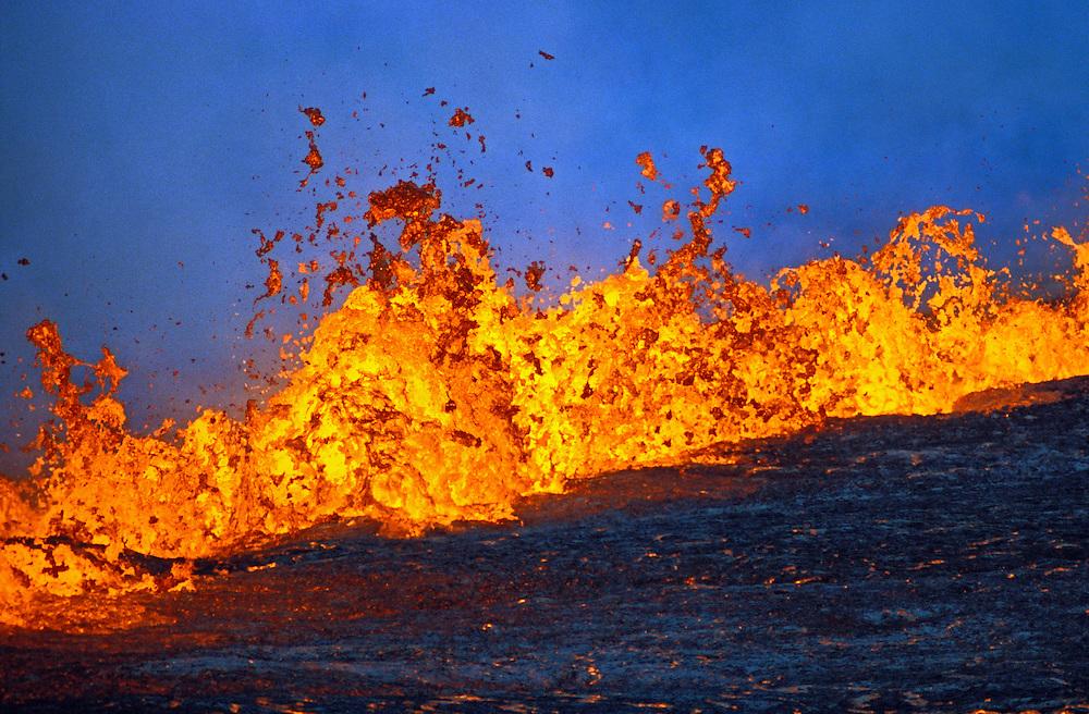 Fountaining lava from Kilauea rift eruption near Pu'u O'o vent; Hawaii Volcanoes National Park.