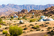Les roches bleu / le roches peintes / the blue rocks / the painted rocks of Tafraoute, Anti Atlas Mountains, Souss Massa Draa, Anti Atlas Mountains, Souss Massa Draa region of Southern Morocco.