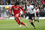 Cardiff City striker Kenwyne Jones on the attack during the Sky Bet Championship match between Derby County and Cardiff City at the iPro Stadium, Derby, England on 21 November 2015. Photo by Aaron Lupton.